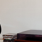 Here's a detail that shows more of the modular shelving system. An Eames bird keeps watch over the record collection.