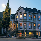 Oakland, California, doesn't want for stately old Victorian houses, but heritage and zoning regulations often make them tough to renovate, particularly if you have an aesthetic depar-ture in mind. By raising the house, Mike McDonald was able to preserve the façade and create a modern new office space below.  Photo by: Jason Madara