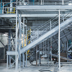 A view of the heavy machinery inside the New United Resource Recovery Corporation recycling plant in Spartanburg, South Carolina.