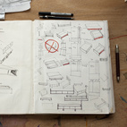 Hale's sketchbook shows working furniture ideas.  Photo by: Philip Newton