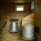 "Inside, the coop is lined with oriented strand board (OSB) and fitted with cans of food and water. Though Snyder designed a large door so he and Martin can access the inside of the coop to clean it, he forgot that to get to the door, they'd have to crawl through the chickens' run. ""That's the one think I would have changed,"" he says. ""We're both pretty short but we still have to crouch down to get through."""