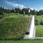 """In southwest Poland, architect Robert Konieczny, of KWK Promes, raises the roof—with sod intact—on Jacek Perkowski's modernist rural getaway. Konieczny lifted the existing ground and wrapped it around the roof and exterior rooftop staircase, essentially making all floors """"ground"""" level.    This originally appeared in Modernist Rural Getaway in Poland."""
