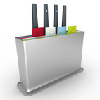 The Joseph Joseph Index Plus replaces that clunky counter-space-hogging knife block and thick, heavy cutting board by combining the knife and cutting board storage into one slim design. It's also great for reducing the chance of cross-contamination when working in close quarters with its four color coded cutting boards and matching knives.