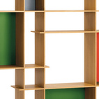 Primary colors and black lines put Piet Mondrian into history and onto the grid. Arik Levy's Level bookcase gives green a go and yellow the boot, though it still evokes the Dutch de Stijlist's rigid compositions.