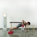 Easily remove the red laptop rester from the desk to create some height while lifting. Photo by:Mark Stokoe