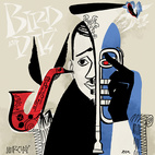 Bebop's most dynamic pair, Dizzy Gillespie and Charlie Parker get the David Stone Martin treatment here on the album Bird and Diz from Clef Records, 1950.