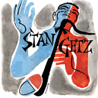 """The blue and red halves of tenor saxophonist Stan Getz seem to suggest both his """"cool"""" and """"hot"""" sides. This album is cover is for Stan Getz at the Shrine from Norgran Records, 1955."""