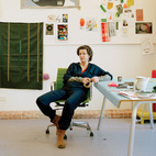 The walls of Jongerius's workshop are covered with sample materials and colors, including a prototype for her new Borders textile for Maharam.  Photo by: Oliver MarkCourtesy of: © 2011 Oliver Mark