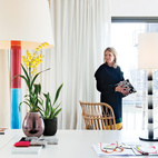 White base, bright colors, and statement pieces: The office of a home in an old Belgian factory includes a pair of colorful lamps by Ghent-based designer Jos Devriendt of Low Tech Design. Photo by Frederik Vercruysse.  Photo by Frederik Vercruysse.   This originally appeared in Playful Family Home in Belgium.