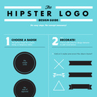 """Jaime: Hipster Logo With the steady popularity of all things artisanal and handmade—or things that just look like they are—the trendy vintage-inspired logo is increasingly prevalent. To help you spot one, or make one, art director Tim Delger made this tongue-in-cheek """"Hipster Logo Design Guide."""" As he writes: """"Grab an X, maybe some arrows! How about a banner?"""""""