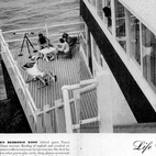 """Kelsey:1890 Spindrift Drive One of Dwell's go-to bloggers, Diana Moss, stumbled upon these great old photographs in the LIFE magazine archive. They depict a house in La Jolla, California, designed by architect William Kesling in 1946-47. The house was built for """"retired bachelor Walton MacConnell,"""" who, LIFE wrote, """"settled down in the elegant, sunny little town… As a setting for this life he has built himself a dramatic, glossy, $40,000 home which hugs the edge of a 50-foot seaside cliff."""" It's very mod, and accented by more than one bathing beauties."""