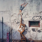 """Erika:Ernest Zacharevic's Street Art Illusions Among the artists showing at Nuart, the annual international street art festival in Stavanger, Norway, is Ernest Zacharevic, a master of multimedia. He has just unveiled his latest piece, depicting a boy """"balancing"""" on a stack of chairs. The show starts tomorrow, September 7, and runs through October 20. Via My Modern Met."""