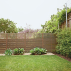 The once-sloping space now has climbing vines, a slatted fence, and foxtail agaves.  Courtesy of Ike Edeani .