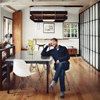 A bed that descends from the ceiling is the masterstroke of this compact, 580-square-foot Hollywood abode occupied by Mad Men's Vincent Kartheiser. Photo by Joe Pugliese.  Photo by Joe Pugliese.