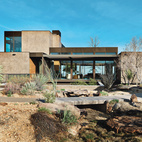 A Picturesque Desert Prefab Jim Murren's prefab house in Sin City, designed by Marmol Radziner, is as artful as it is art-filled, thanks to an asymmetrical arrangement of solids and voids. Photo by Jill Paider.  Photo by Jill Paider. Courtesy of Jill Paider .  This originally appeared in A Picturesque Desert Prefab .