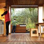 Eucalyptus is used for the kitchen floor and ceiling slats.  Photo by: Simon DevittCourtesy of: Simon Devitt