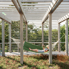 A second green roof is planted with sedum and plays host to one of the family's favorite spots: a hammock. Bentheim suggested adding a trellis overhead to soften and balance the appearance of the facade.  Photo by: Matthew WilliamsCourtesy of: Matthew Williams