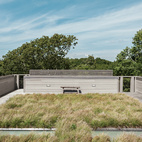 Landscape architects Reed Hilderbrand helped fill out the completed prefab by planting sedge grass  on one of the house's two green roofs to reflect the texture of the surrounding meadow.  Photo by: Matthew WilliamsCourtesy of: Matthew Williams