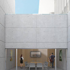 """This rendering of the Visitor Center's lower level forefronts the """"wonderfully light and airy"""" qualities that Conforti says characterize the center's below-ground main exhibition galleries. Conforti ascribes to architectTadao Ando mastery at finding """"innovative ways ofbringing light into spaces, particularly those that are below-ground."""""""