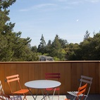 The roof deck atop this 30-foot tower in Silicon Valley provides a comfortable setting for observing the surrounding landscape. Photo by Bruce Damonte.  Photo by Bruce Damonte.   This originally appeared in A Sustainable Home in Silicon Valley.