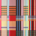 The wool fabrics in saturated, oversized plaid could function as graphic blankets or wall hangings.  Check out some more plaid here.