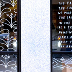 Excerpts from the journal artist Brian Rea wrote in while he was traveling in Sweden adorn the storefront's glass.