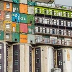 Mill Junction Student Housing (Johannesburg, South Africa)  The developers at Citiq decided to one-up anybody reclaiming and reusing building material by fashioning an 11-story dorm out of shipping containers and abandoned grain silos. This colorful space near the city's central business district accommodates nearly 400 students in a mish-mash of metal shapes.  Photo by Citiq