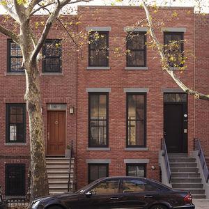 Restored brick town house in Brooklyn