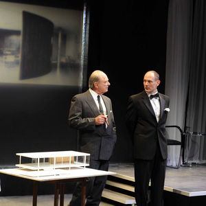 Actors David Bishins and Harris Yulin, on stage during a performance of The Glass House by June Finfer.