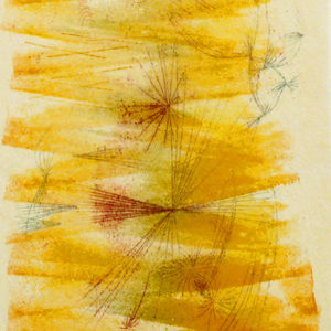 """""""The works on paper that are featured in the exhibition are all monotypes, which is an unusual form of printmaking as it produces only one unique print rather than an edition,"""" says Murphy. """"Bertoia created these monotypes in an even more unusual way. He"""