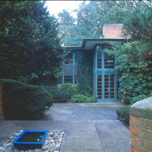 An exterior view of the terrace of the Earl Stein house designed by Alden B. Dow.