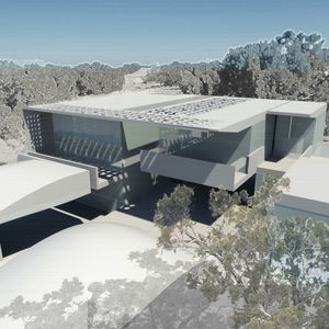 Spatially, lamesadevenn planned two types of rooms: Below the natural terrain would be private suites structured for quiet reflection and study; above grade would be the larger public gathering rooms for chatting, sharing thoughts, and generating new idea