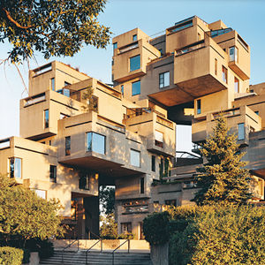 The boxes of Moshe Safdie's Habitat 67 were precast in concrete before being joined together onsite. Originally made for Montreal's Expo in 1967, the apartment building is still very much in use.