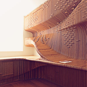 modern CNC-milled desk in London home