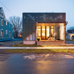 Shotgun house with CabFab composite board sliding doors