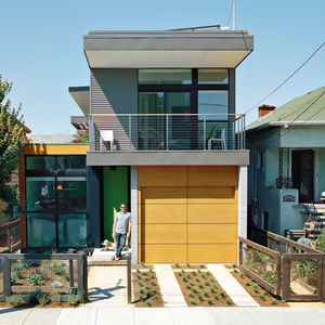 Modern prefab home with drought-tolerant garden