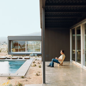desert house exterior pool portrait