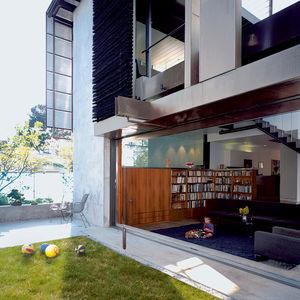 solar umbrella house backyard view to living room  0