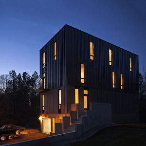modern house with metal facade