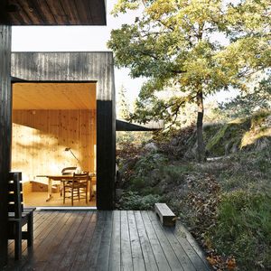 compact cabin exterior deck