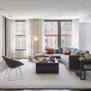 living room in loft renovation with brick walls and shag rug