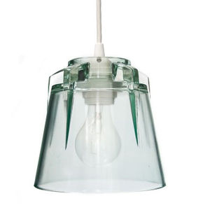 a clear glass lamp
