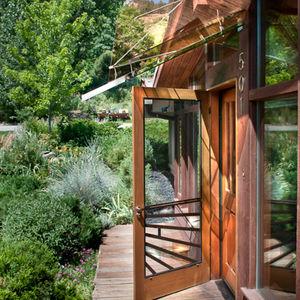 a glass entryway in Boulder, Colorado