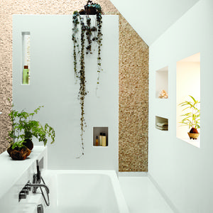 13noordeinde bathroom open overhead skylight stone tiles