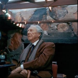 Frank Lloyd Wright at his office in Taliesen West