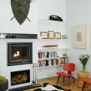 renovated study in Chicago with fireplace