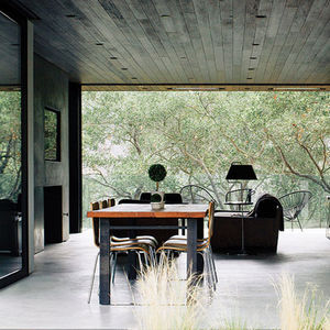 modern interior with wood ceiling