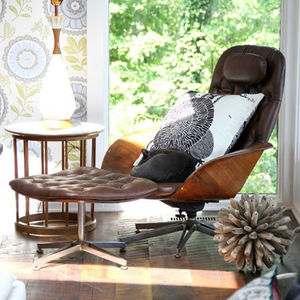 plycraft amy butler wallpaper leather chair window