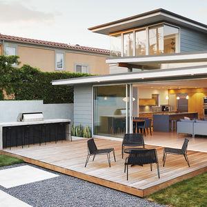 Backyard wooden patio California house