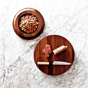 Wooden bowl and cutting board